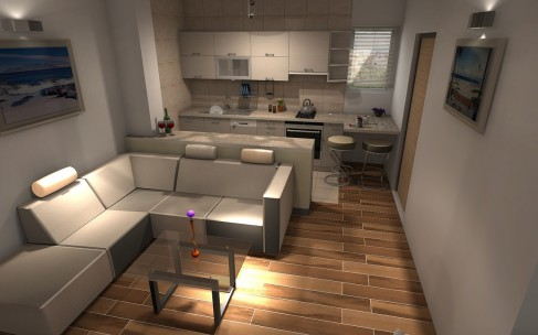 Kitchen with living room – space gain